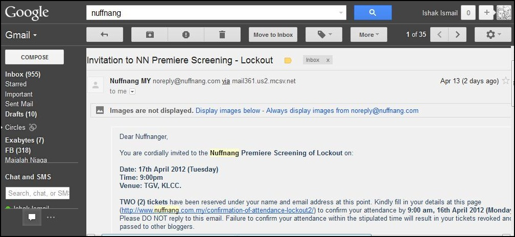 Nuffnang invitation for movie screening
