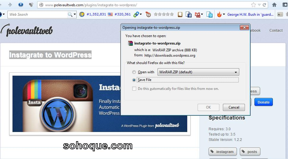 save plugin instagrate