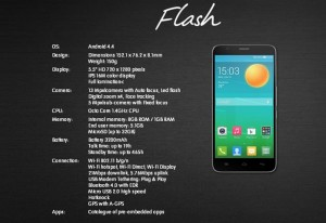 spec alcatel onetouch flash
