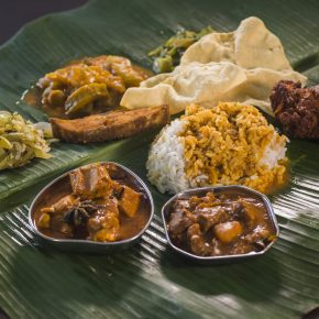 Feast on Southern Indian flavours with a banana leaf rice meal